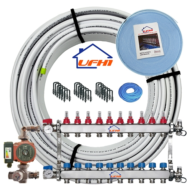 Premium Underfloor Heating Kit - 10 Port, 1000m Kit (up to 200m²)