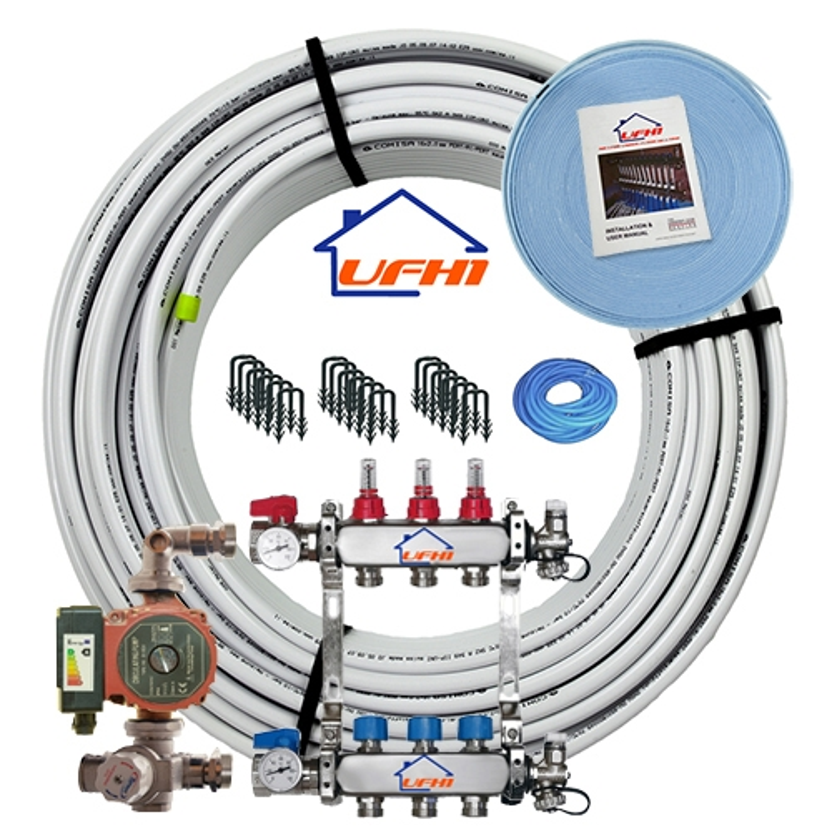 Premium Underfloor Heating Kit - 3 Port, 300m Kit (up to 60m²)