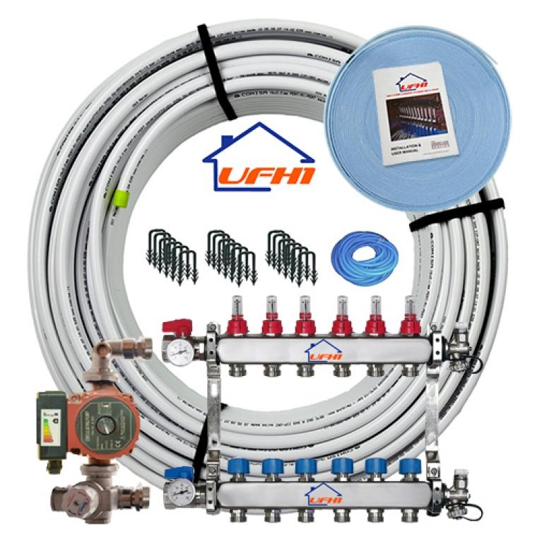 Premium Underfloor Heating Kit - 6 Port, 600m Kit (up to 120m²)