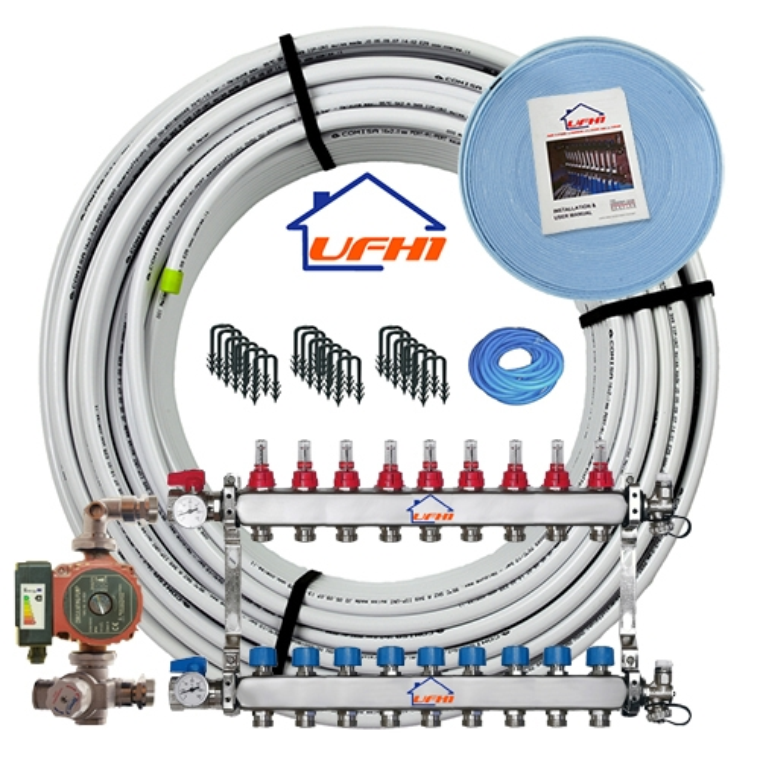 Premium Underfloor Heating Kit - 9 Port, 900m Kit (up to 180m²)