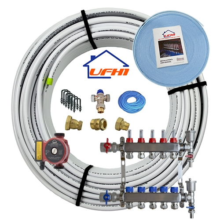Standard Underfloor Heating Kit - 5 Port, 500m Kit (up to 100m²)