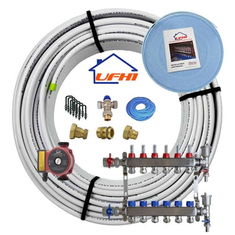 Standard Underfloor Heating Kit - 6 Port, 600m Kit (up to 120m²)